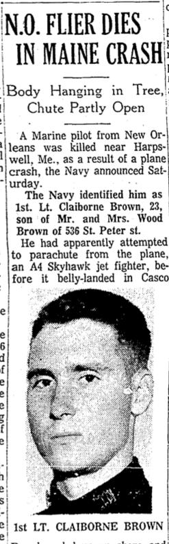 Times-Picayune re: Lt Claiborne H Brown, USMC