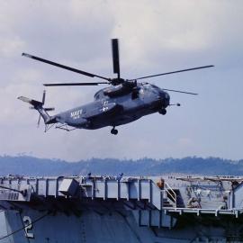 helo landing on LPD 2 at Alava Pier, Subic