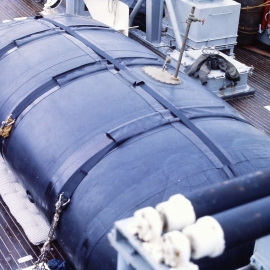 the blob, portable fuel bladder on the fantail for the Pacific crossing