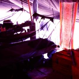 Racks with netting inside tent