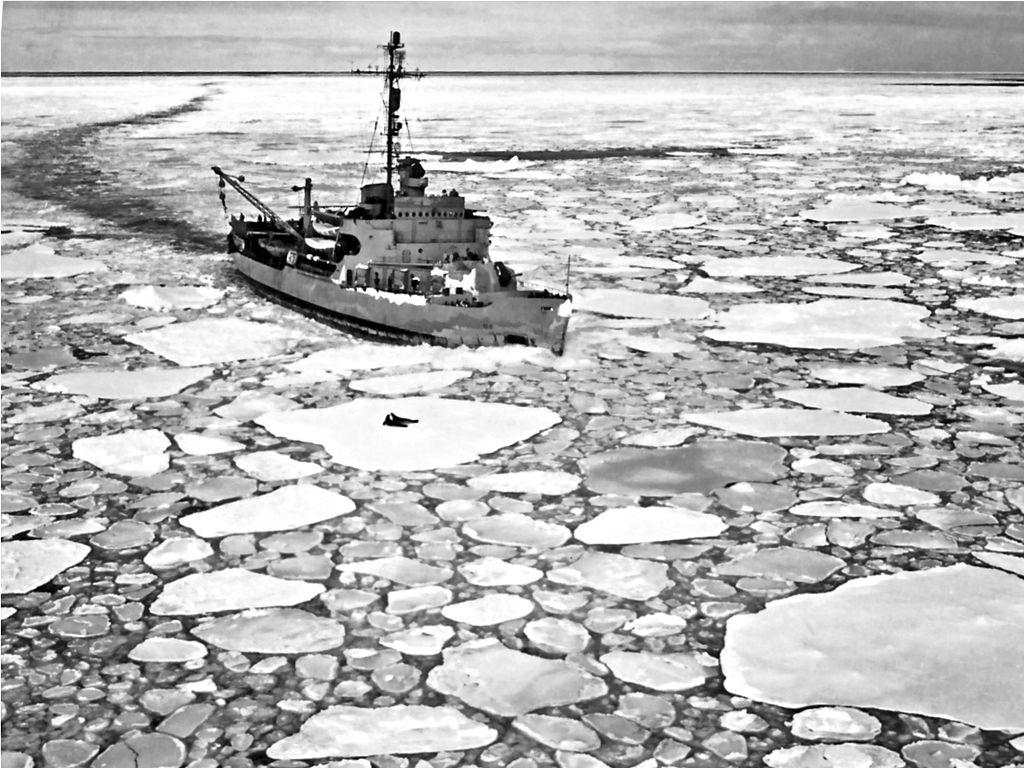 USS Burton breaking ice